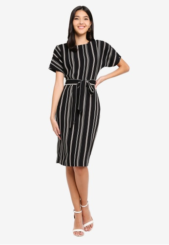 WAREHOUSE multi Stripe Button Wiggle Dress D33D0AADD36AECGS_1