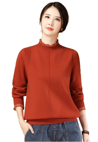 A-IN GIRLS red Fashion Gauze Stitching Sweater F45B9AAADADB69GS_1
