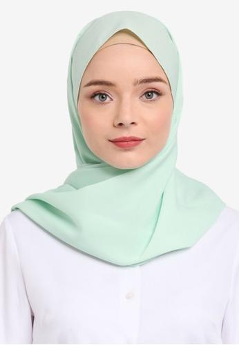 Soonaru green Mint Green Crepe Shawl 3FDEBAA4757149GS_1