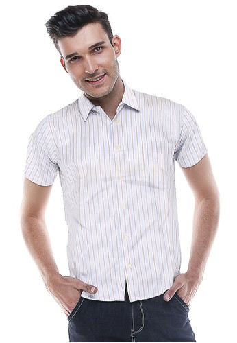 Johnwin white Johnwin - Slim Fit - Kemeja Formal - Putih Kebiruan - Garis Tambang CF4B2AA30DA62AGS_1