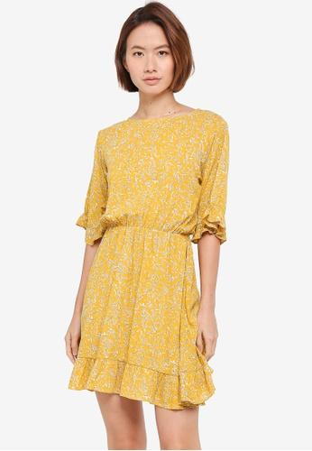 ZALORA yellow Boatneck Dress With Oversized Ruffle Sleeves CC189AA8E110ABGS_1