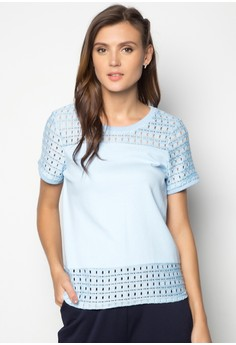 Short Sleeves Cut and Sew Lace Boxy Tee with Ribbing