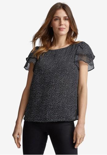 Dorothy Perkins black Black Spot Print Double Ruffle T-Shirt 89661AA1A75573GS_1