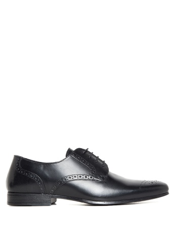Topman black Leather Punched Toe Smart Shoes TO100SH88JZFPH_1