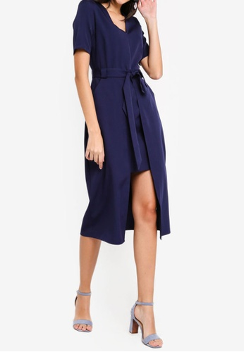 ZALORA navy Split Detail Midi Dress C93BEAAFC245FCGS_1
