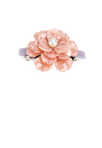 Glamorousky white Fashion and Elegant Pink Rose Imitation Pearl Hair Slide 15C4AAC9605F84GS_1