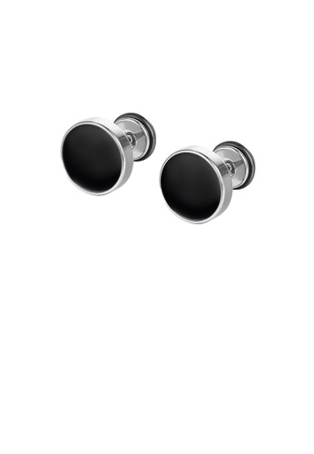 Glamorousky silver Simple and Fashion Geometric Black Round 316L Stainless Steel Stud Earrings F96AEACFF14EE6GS_1