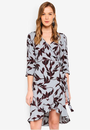 ICHI grey and multi Blues Dress AF8C2AA75C6788GS_1