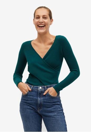 Mango green Crossed Knit Sweater 599FDAAFBC8803GS_1