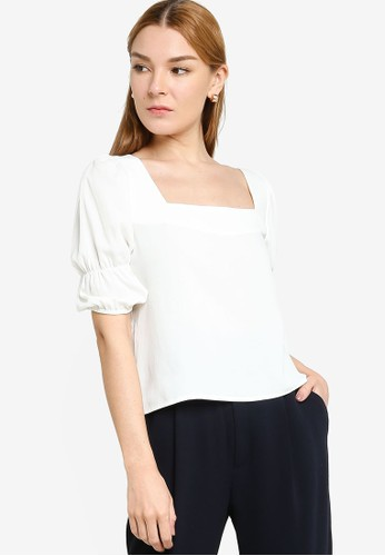 Origin by Zalora white 100% Recycled Polyester Square Neck Puff Top 00A01AA62EDEBCGS_1
