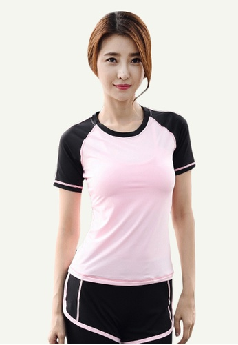 B-Code pink ZYG5070-Lady Quick Drying Running Fitness Yoga Sports Bra, Top and Leggings Three Pieces Set-Pink 42340AA311690FGS_1