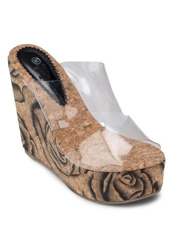透明寬帶esprit暢貨中心楔形跟涼鞋, 女鞋, 楔形涼鞋