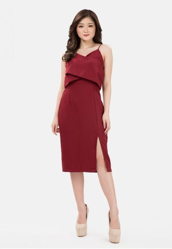 The Pink Label red Layered Span Mini Dress in Maroon F62EBAAD685E2AGS_1