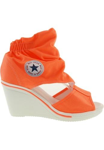 Maxstar orange Maxstar Women's 775 Open Toe Elastic Ankle Canvas Wedge Heel Sandals US Women Size MA164SH94QRPSG_1