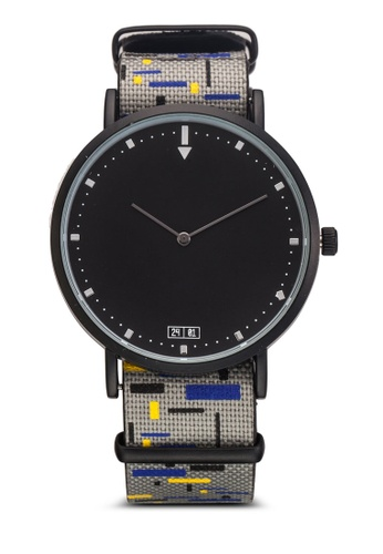 24:01 grey and multi Block Print Detachable Watch 87E02AC37258B2GS_1