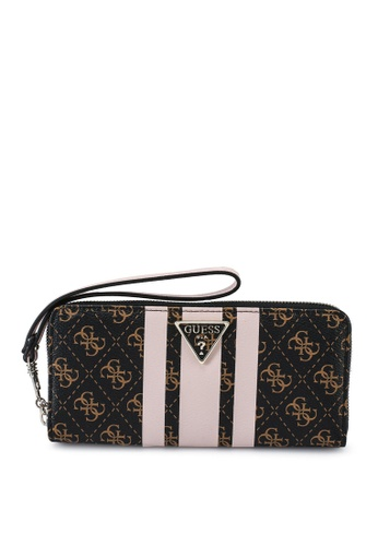 Guess brown and pink Ambrose Sling Large Zip Around Wallet 9546AAC2069361GS_1