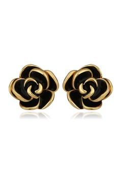 Treasure by B&D E922 Plated Rose Shape Stud Earrings