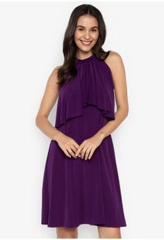 2bd62175a238b ccicci purple Harlow Halter Ruffled Neck ShortDress 4851CAAB47300FGS 1
