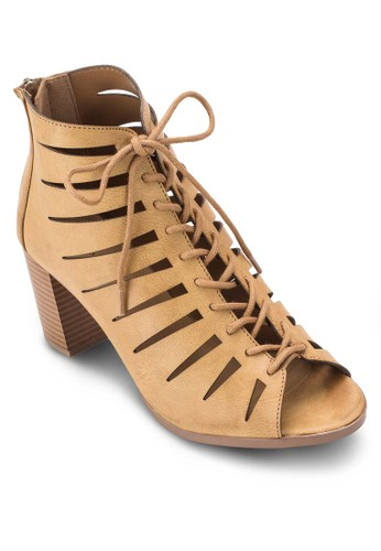 Adroelle 鏤空露趾粗跟踝靴, 女esprit outlet 台灣鞋, 鞋