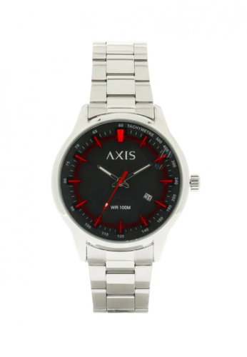 Axis black and red and silver Stainless Steel Strap Watch AE1273-0104  AX644AC06IVXPH_1