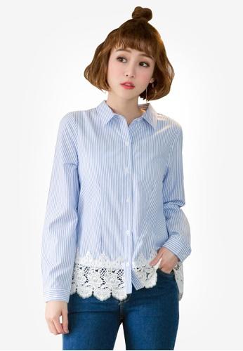 Tokichoi blue Striped Shirt With Lacy Hem 55A9DAABD629E0GS_1