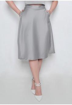 Grey Blackout Knee Length Skirt