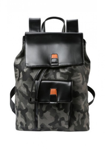 Lara black and multi Camouflage Flip Flap Backpack F714BAC7D697D6GS_1