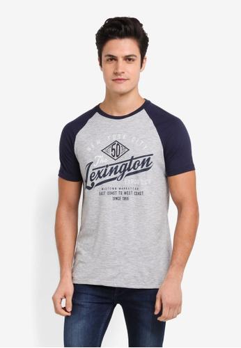 Burton Menswear London grey Grey Texture Lexington Print Raglan T-Shirt CAA28AAC292E6BGS_1