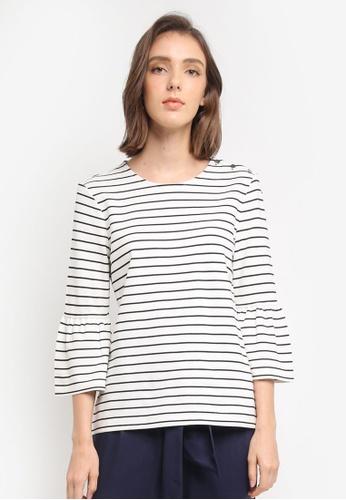 ESPRIT white 3/4 Sleeve T-Shirt 32AA8AAE687230GS_1