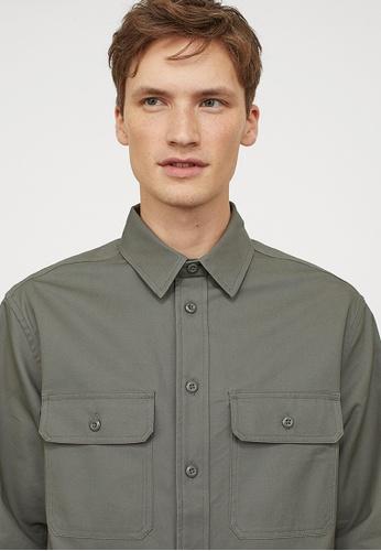 H&M green Cotton twill shirt 061DCAAD8D0B27GS_1