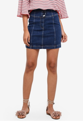 Free People blue Modern Femme Corset Mini Skirt 405DAAA545C7F3GS_1
