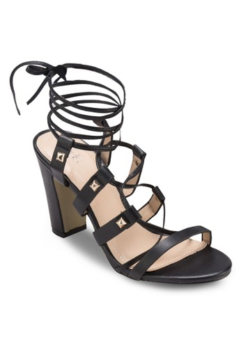 Zeesprit 價位lia 鉚釘羅馬粗跟涼鞋, 女鞋, 知性女強人