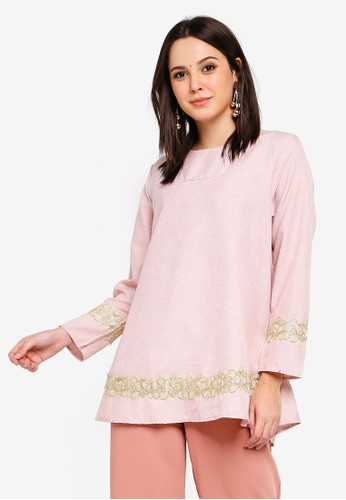 BYN pink Lace Patch Blouse 9AF47AA1216839GS_1