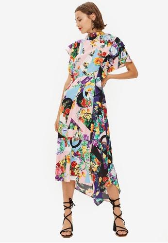 TOPSHOP multi Floral Print Cowl Back Midi Dress 7D1FAAAAF205FAGS_1