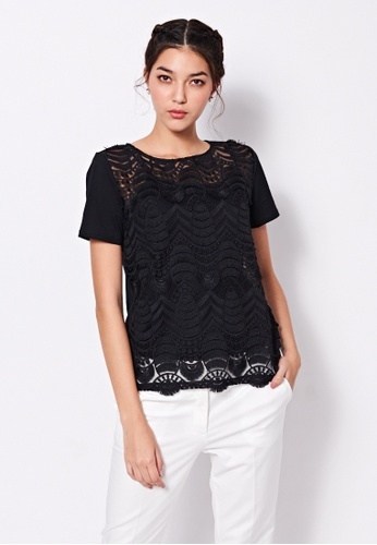 Sisley black Lace T-shirt 37F0CAAB9F39F9GS_1