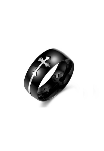 ADORA Stainless Steel Cross Ring AD365AC2UUO1HK_1