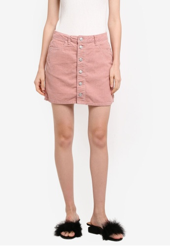 Supre pink Button Through Cord Skirt CA66AAA360A2FBGS_1
