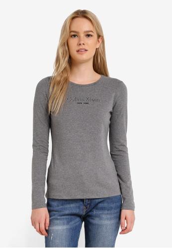 Calvin Klein grey Institution Logo Long Sleeve Tee - Calvin Klein Jeans CA221AA0RN3ZMY_1