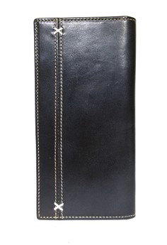 Black Tone Italian Leather Long Wallet