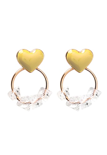 YOUNIQ yellow and gold YOUNIQ Korean Tiny Heart Crystal Ring Gold Earrings - 4 options 1BC47ACB6E1692GS_1