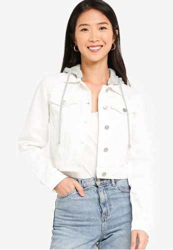 ZALORA BASICS white Cropped Denim Jacket with Hoodie A06B3AA81D537EGS_1