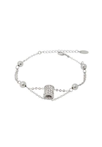 Jaysa Collection silver Clear Crystals Barrel Ornament Bracelet JA875AC0FVGTSG_1