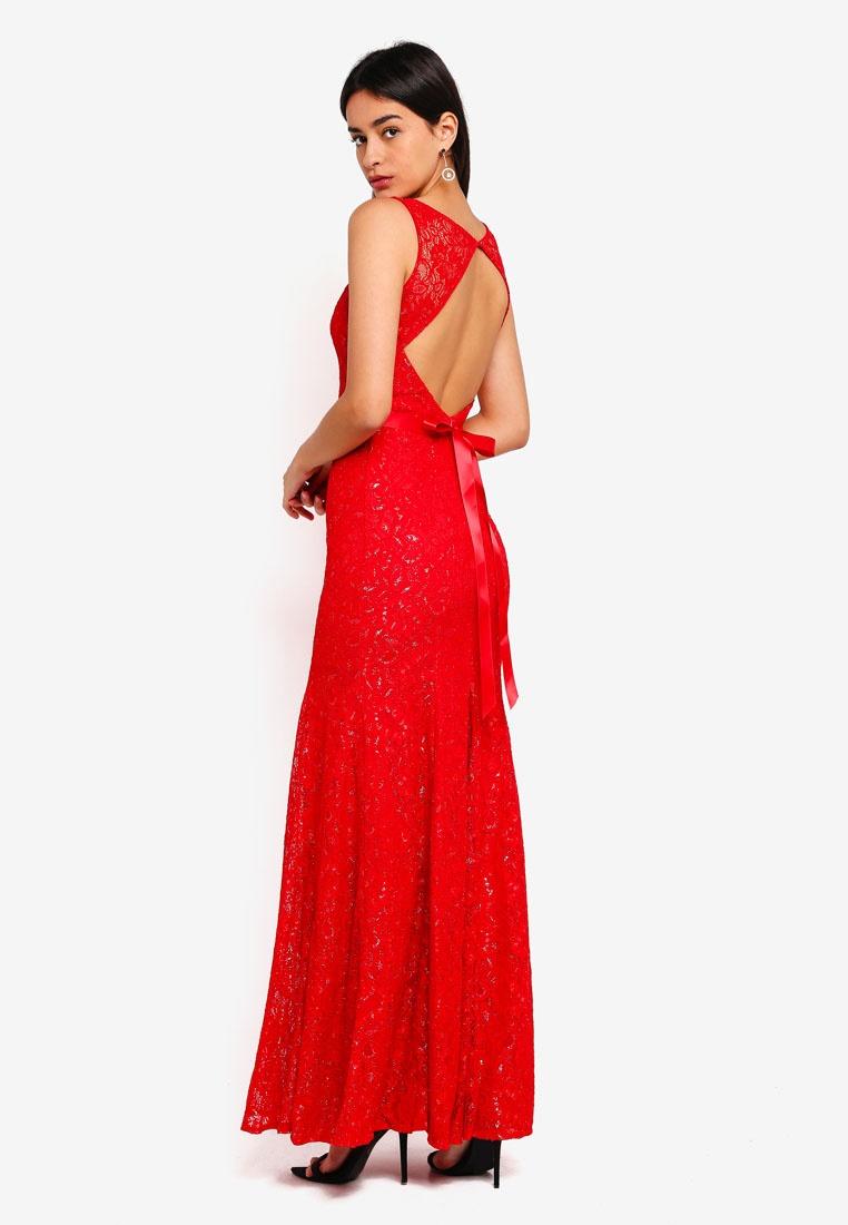 Ribbon Open Red Back With Maxi Tie Dress Lace Goddiva wzfzqOHxX