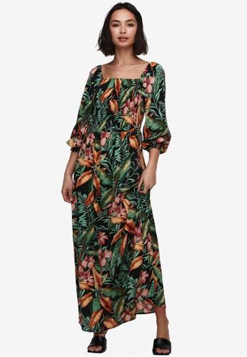 JACQUELINE DE YONG black Mina 3/4 Sleeve Smock Dress 86433AA2DEB7A0GS_1