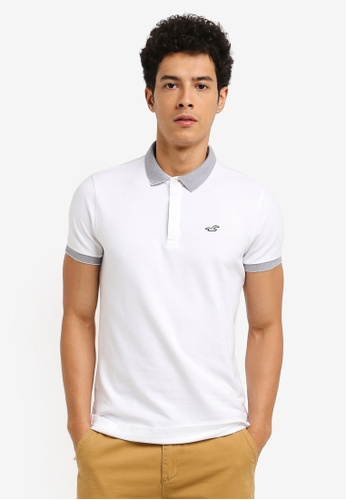 Hollister white Modern Collar Blocking Polo Shirt 760AAAAA32BA51GS_1