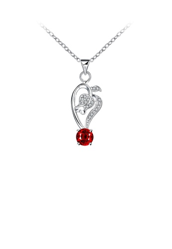 Glamorousky red Elegant Fashion Rose Flower Purple Cubic Zircon Pendant Adn Necklace 958AFAC756709CGS_1