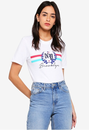 MISSGUIDED white NY Brooklyn Graphic T-Shirt 7E198AACA78F4EGS_1