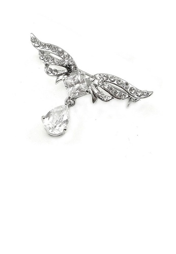 Glamorousky silver Elegant Wing Brooch with Silver Austrian Element Crystal A913EAC9A4CE72GS_1