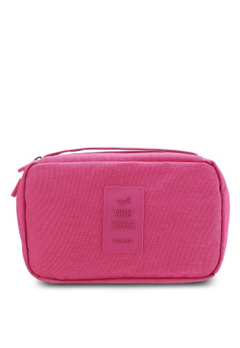 Bagstationz pink Lightweight Water Resistant Travel Toiletries Pouch BA607AC25QNYMY_1