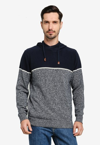 Indicode Jeans navy Brager Hoodie Knit Sweater 8E5DEAA43499F7GS_1
